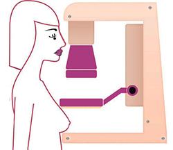 illustration of a female caricature having a mammogram