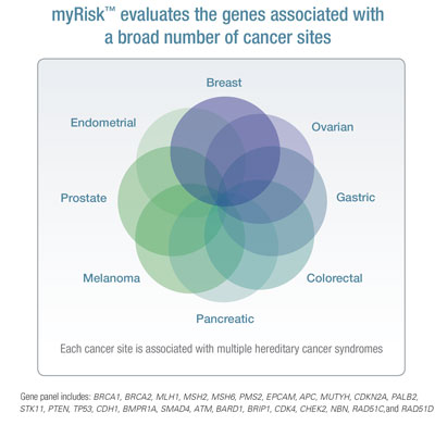 image of a chart showing how myRisk evaluates the genes associated with a broad number of cancer sites
